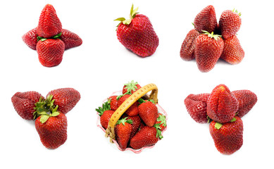 organic strawberries Isolated object On White Background.