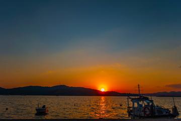 Seascape dawn over sea shore landscape paradise evening