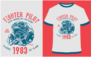 Fighter Pilot, Blackhawk, Born To Fly, Aeroplane - Vector graphic, typographic poster, vintage, label, badge, logo, icon or t-shirt