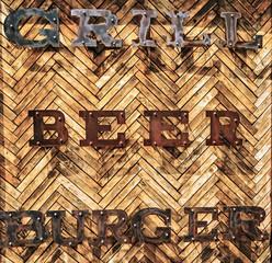 background wooden tiles wall text Grill, Beer, Burger.