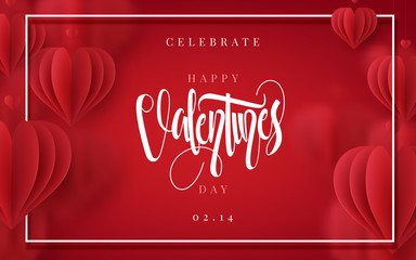 Happy Valentines Day romance greeting card with 3D hearts. Vector illustration