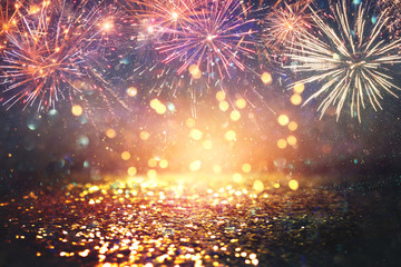 Fond de hotte en verre imprimé Montagne abstract gold, black and blue glitter background with fireworks. christmas eve, 4th of july holiday concept