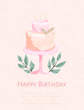 Beautiful birthday card with the watercolor painting. Design of 2 layer cakes on the tall plate. Vector illustration.