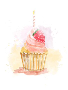 Watercolor painting of cupcake with buttercream frosting and strawberry. Candle on the cup. vector illustration for birthday card, menu printing, wallpaper.