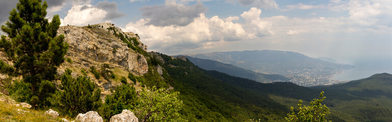Wall Mural - panoramic view of the Caucasus Mountains in summer day