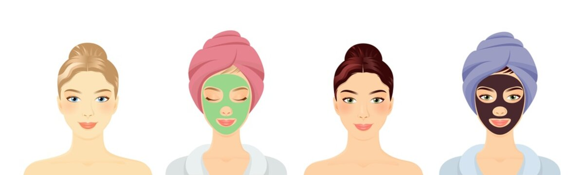 Women in a Spa with different face masks set