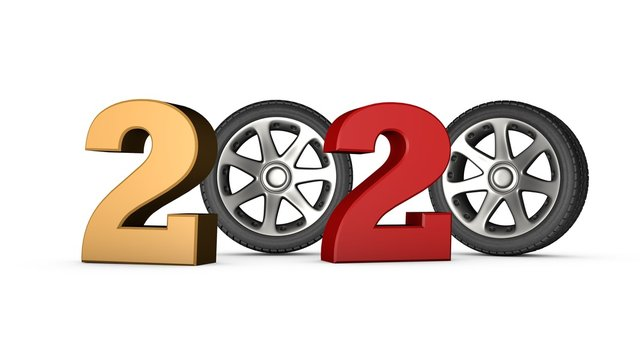 3D animation of the symbol of 2020 New year. The image shows a car wheel instead of zeros. 3D rendering for calendar songs, calendar on the transport theme.