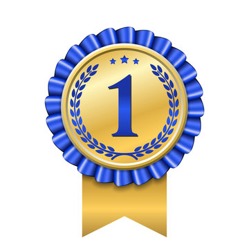 Award ribbon gold icon number first. Design winner golden blue medal 1 prize. Symbol best trophy, 1st success champion, one sport competition honor, achievement leadership victory. Vector illustration