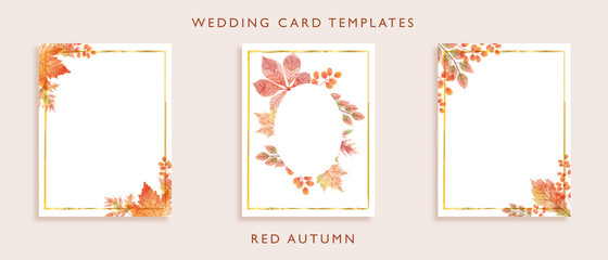 Elegant wedding card templates design. Concept for watercolor wild leaves in red color theme autumn season. Aim used for wedding card, invitation card, postcard, and more.