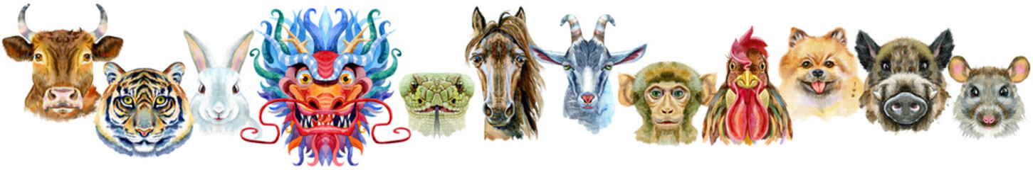 Border from watercolor twelve chinese zodiac animals