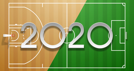 Football and basketball 2020 championship Design greeting card banner. greeting card with new year Realistic 3d 2020 logo above soccer and basketball field. classic football field postcard