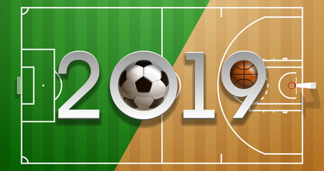 Football basketball 2019 championship Design greeting card banner. greeting card with new year 2019 logo Realistic 3d soccer and basketball balls above on field. classic leather football ball postcard
