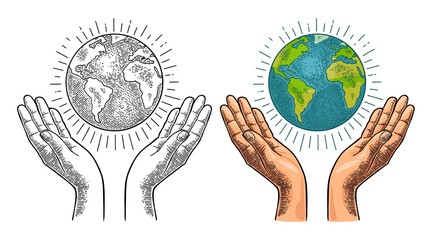 Earth planet in open female human palms. Vector black vintage engrav