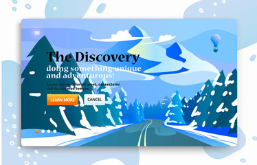 Vector website banner with travel illustration of road to the mountains through the forest.