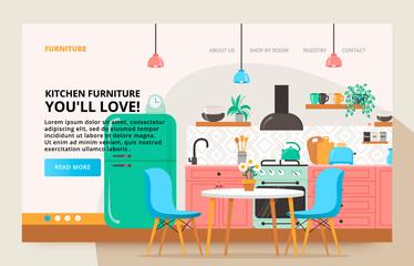 Scandinavian dinner room design. Home furniture site banner.