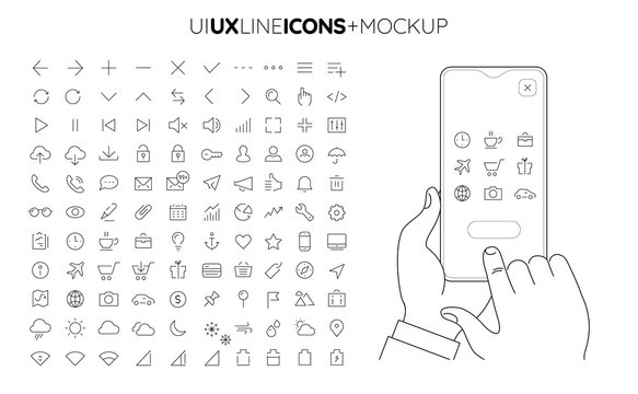Trendy UI UX interface line icons collection with line smartphone mockup holded by hands