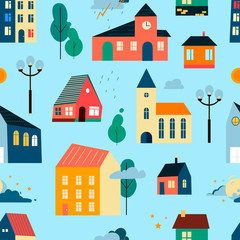 Vector patten with small tiny houses, trees and clouds.