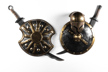 medieval shield and sword isolated on white background