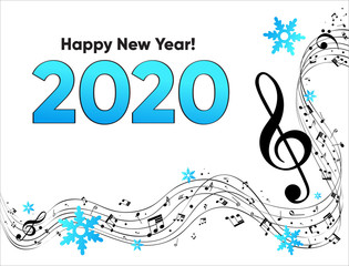 Musical Happy New Year background with notes 2020