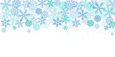 Christmas banner. Background xmas design of blue snowflakes, Horizontal christmas background, greeting cards, website, blank space for text.