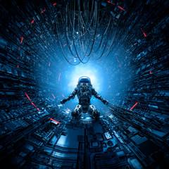 Last man standing / 3D illustration of lone astronaut left behind in dark space station corridor