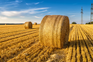Hay bales on the golden agriculture field. Sunny landscape with round hay bales in summer. Rural scenery of straw stacks at sunset. Scenic view of yellow wheat haystacks in countryside. Farm concept.