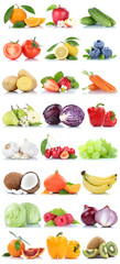 Wall Mural - Fruits and vegetables collection isolated apple oranges carrots bell pepper lettuce berries fruit