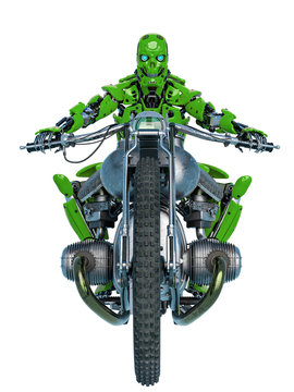 android is riding a motorcycle