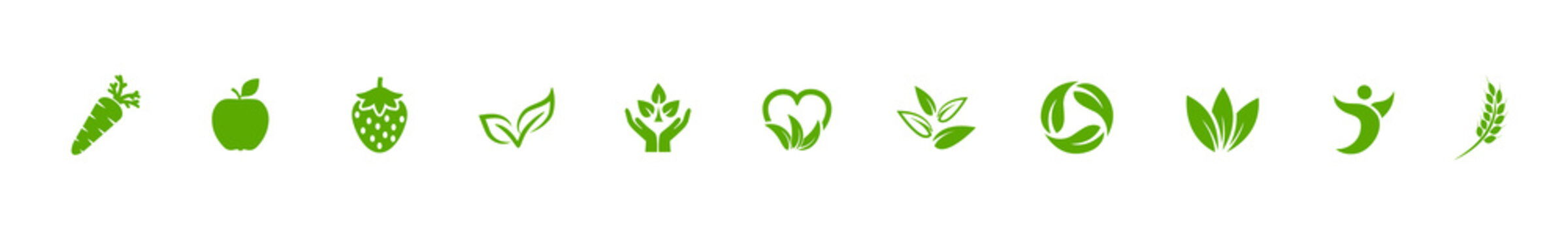 Vegan green bio icons set with carrot, apple, strawberry and leaves sign – stock vector