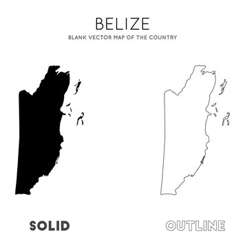 Belize map. Blank vector map of the Country. Borders of Belize for your infographic. Vector illustration.