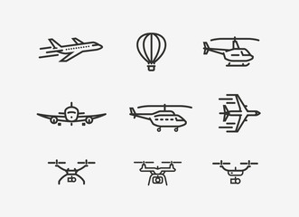 Set of airplane icon. Transport symbol in linear style. Vector illustration Fototapete