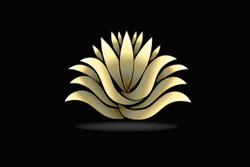 Gold lotus flower leafs and petals logo vector image design
