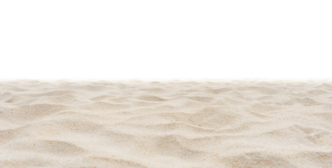 Wall Mural - Beach sand in nature on white background.