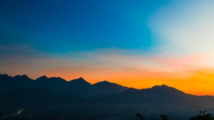 Printed roller blinds Violet Sunset at Laung Prabang in Bird Eye View:: Mount. PhouSi view point, Laos