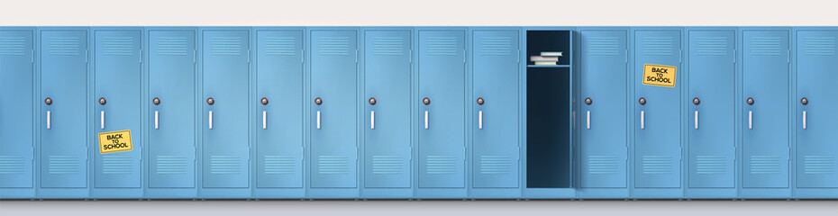 Welcome Back To School Long Line Of Blue Cupboards With Combination Lock And Handles Set Of Realistic School Locker Metal Cabinets With Closed And Open Doors Vector Template 3d Illustration Buy