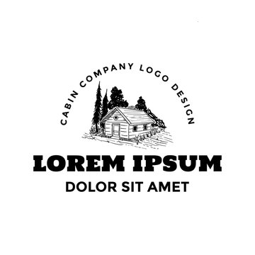 Cabin in pine forest american nature logo hand drawn template