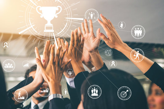 Achievement and Business Goal Success Concept - Creative business people with icon graphic interface showing employee reward giving for business success achievement.