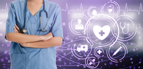 Medical Healthcare Concept - Doctor in hospital with digital medical icons graphic banner showing...