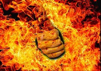 炎 ジェスチャー 親指を立てる