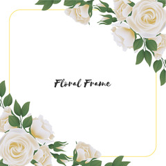 Beautiful square flower frame with white rose bouquet