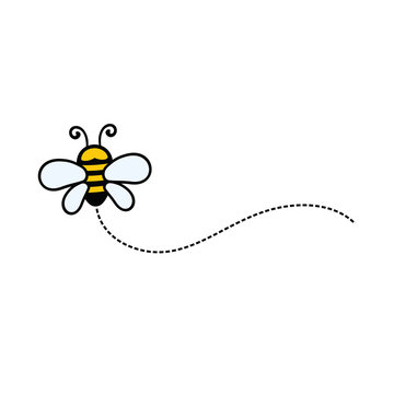 Funny Bee, Cute Bee and Honey Character Logo Vector