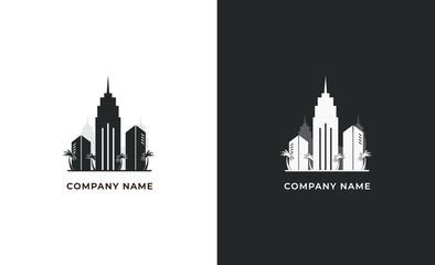 Real estate logo isolated. City vector image