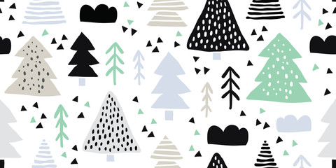 Childish seamless pattern, colorful forest