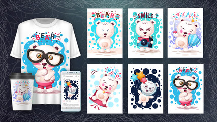 Pretty bear poster and merchandising.