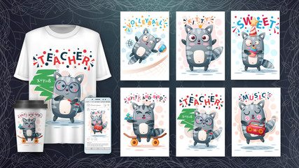 Set cute animals poster and merchandising.