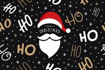 Fototapete - Ho ho ho Santa Claus laugh hat and beard seamless texture pattern black background