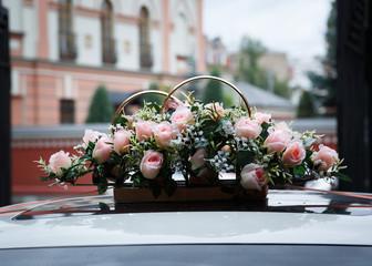 Beautiful dyeing flowers wedding car.