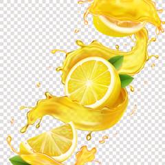Lemons in yellow juice splash realistic illustration
