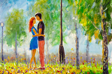 Oil painting Young couple in love hugs and kisses in spring green flower park. Concept of love and happiness. Valentines day illustration