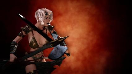 Horned blonde female demon with sword posing over dark background